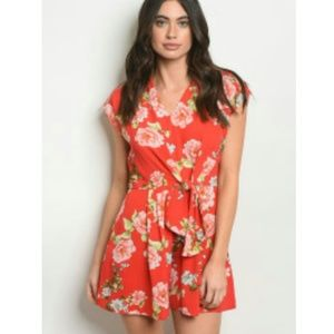 Pants - SEXY- Flirty Fun Red Floral Romper